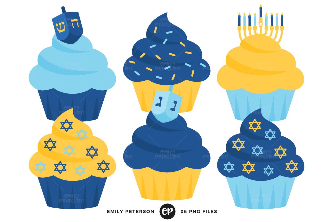 Hanukkah Cupcakes Clipart By Emily Peterson Studio.