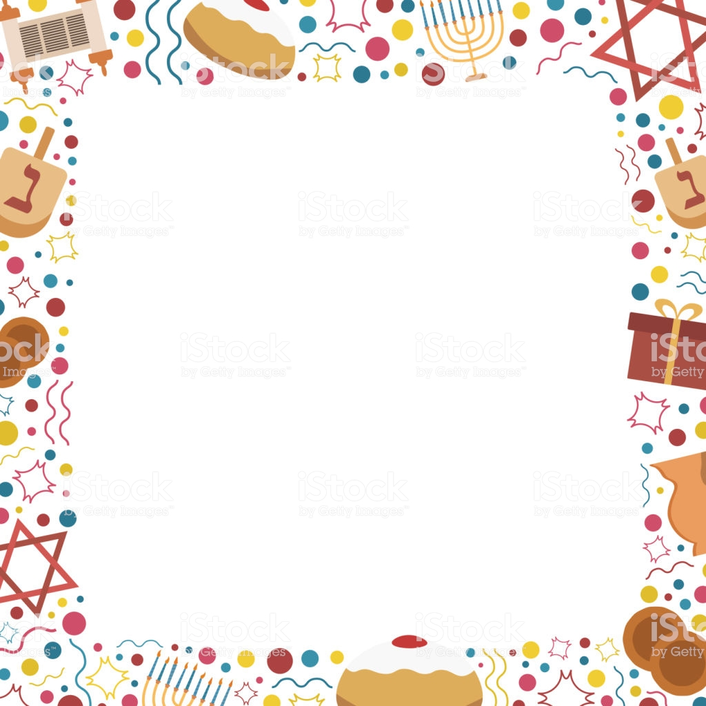 Frame With Hanukkah Holiday Flat Design Icons Stock Vector Art.