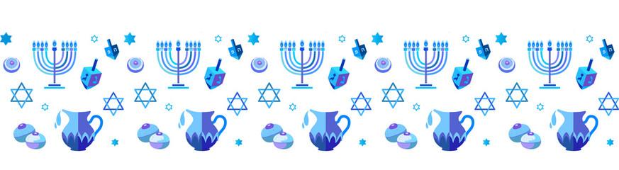 Jewish holiday Hanukkah Border Blue Frame traditional Chanukah.