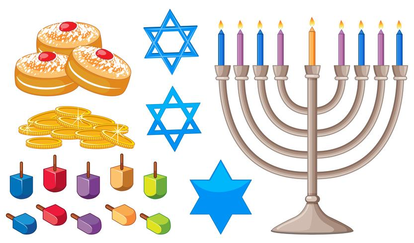 Happy Hanukkah elements with jewish symbols.