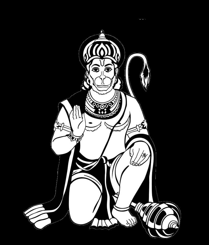 Hanuman Black Clipart.