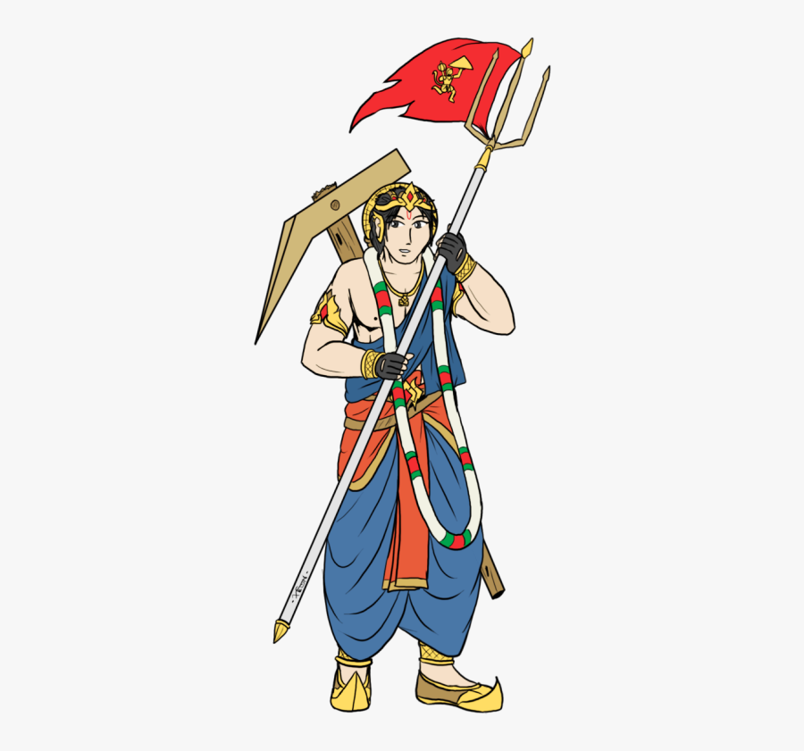 Lord Hanuman With Flag , Free Transparent Clipart.
