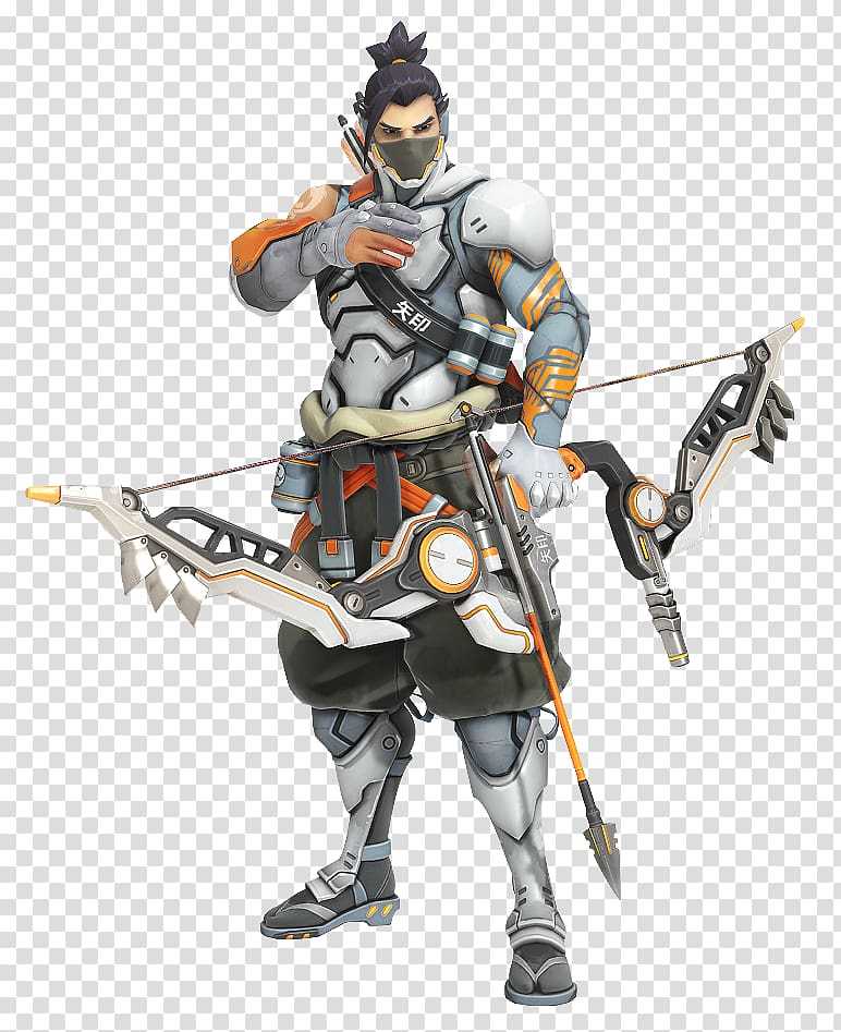 Man holding arrow illustration, Overwatch Hanzo Bow and.