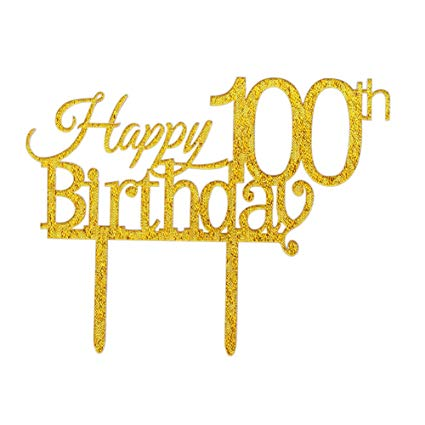 Glitter Gold Acrylic Happy 100th Birthday Cake Topper, 100 Birthday Party  Cupcake Topper Decoration(100, gold).