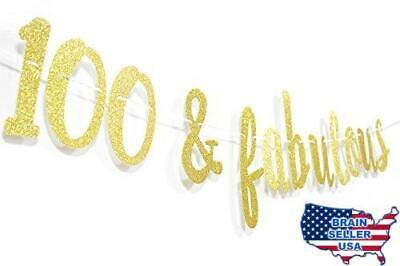 100 & FABULOUS Gold Glitter Cursive Banner.