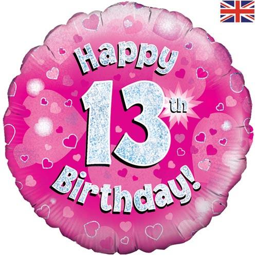 18 Inch Happy 13th Birthday Pink Foil.