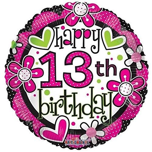 \'Happy 13th Birthday\' Vibrant Birthday Foil Balloon.