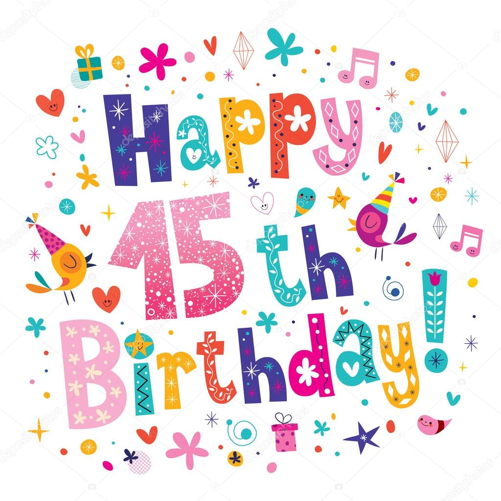 Clipart: happy 15th birthday.