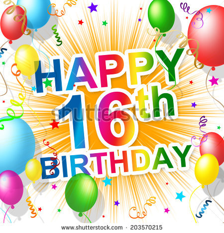 Happy 16th birthday clipart 8 » Clipart Station.