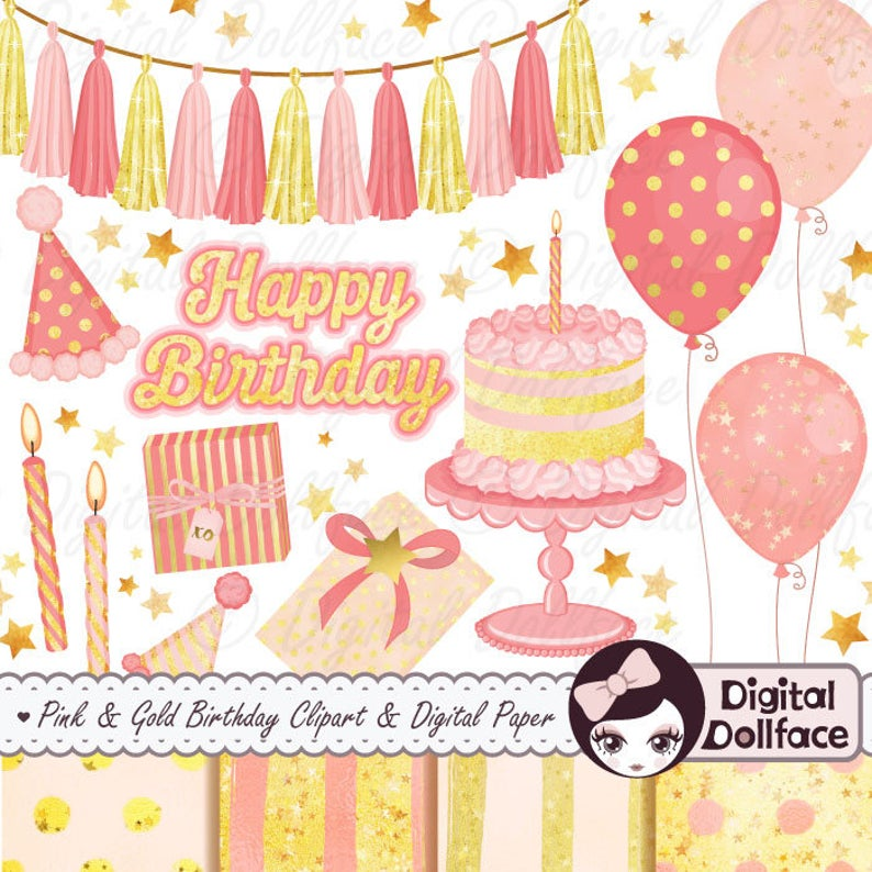 Pink and Gold 1st Birthday Clipart and Papers / Happy Birthday Clip Art.