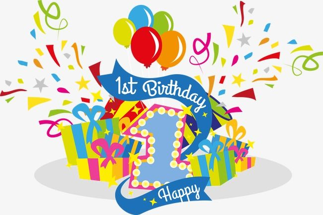 Vector Celebrate Their First Birthday, Birthday Clipart, Full Year.