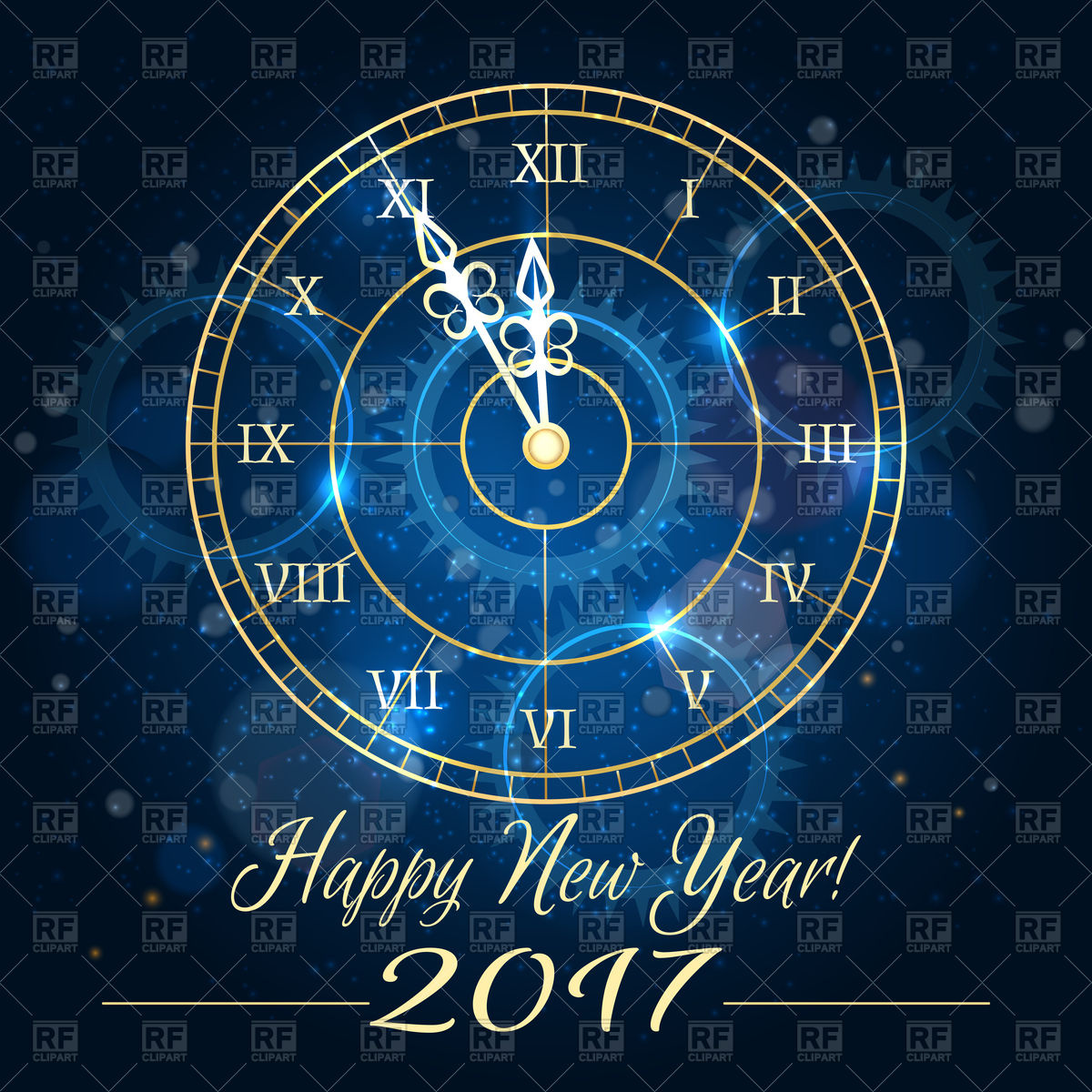 Happy 2017 new year background with blue clock Stock Vector Image.