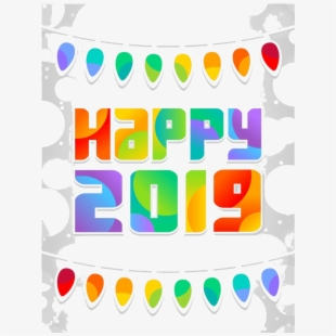 Happy New Year Word Art Png Transparent Image , Transparent Cartoon.