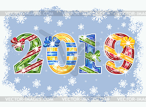 Happy 2019 New year invitation card, vector illustratio.