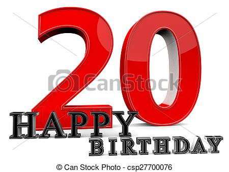 Clipart of Happy Birthday for 20th birthday.