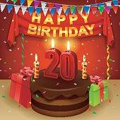 20th Birthday Clip Art, Vector 20th Birthday.