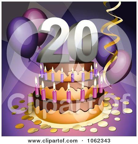 3d 20th Birthday Or Anniversary Party Cake Posters, Art Prints by.