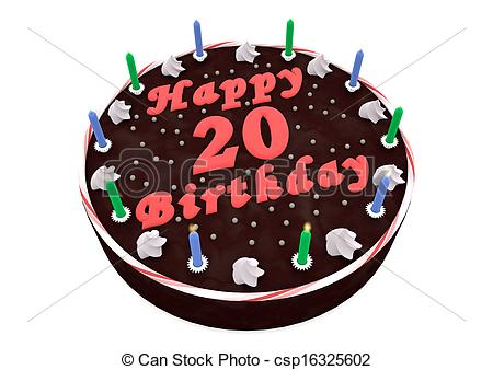 Stock Illustration of chocolate cake for 20th birthday.