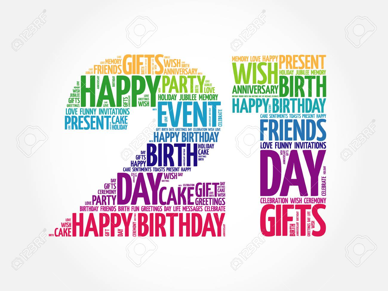 Happy 21st birthday word cloud collage concept.