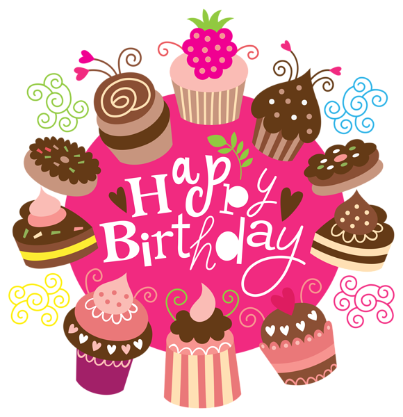 Happy Birthday Clipart with Cakes Image.
