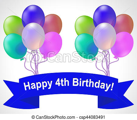 Happy Fourth Birthday Means 4th Party Celebration 3d Illustration.