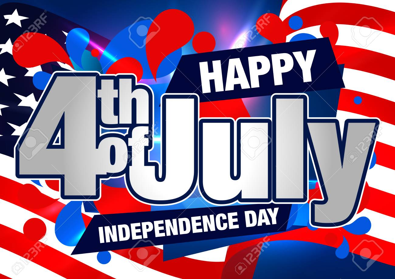 Fourth of July Banner. Happy Independence Day Design. 4th of...