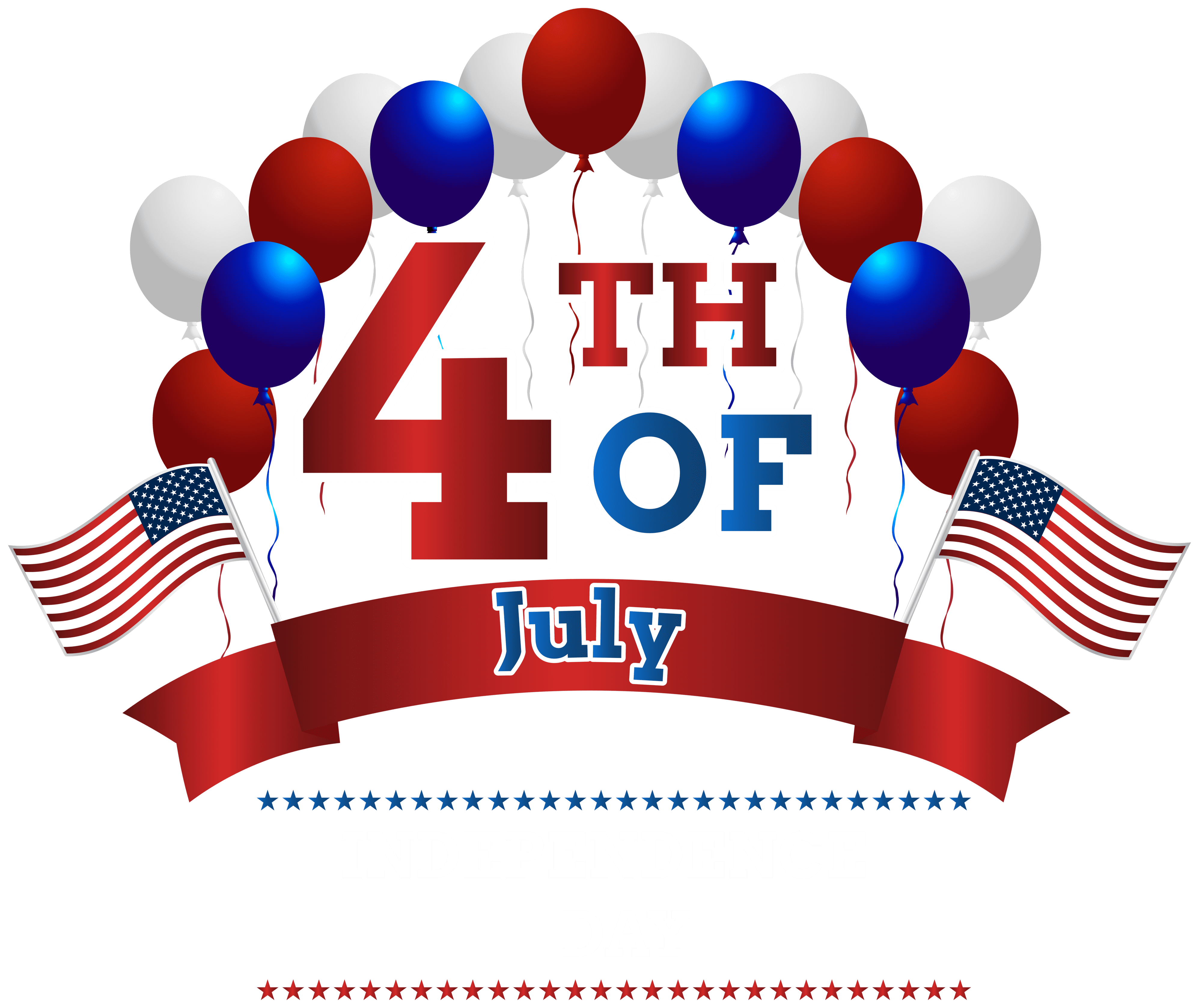 Happy Independence Day 4th July PNG Clip Art Image.