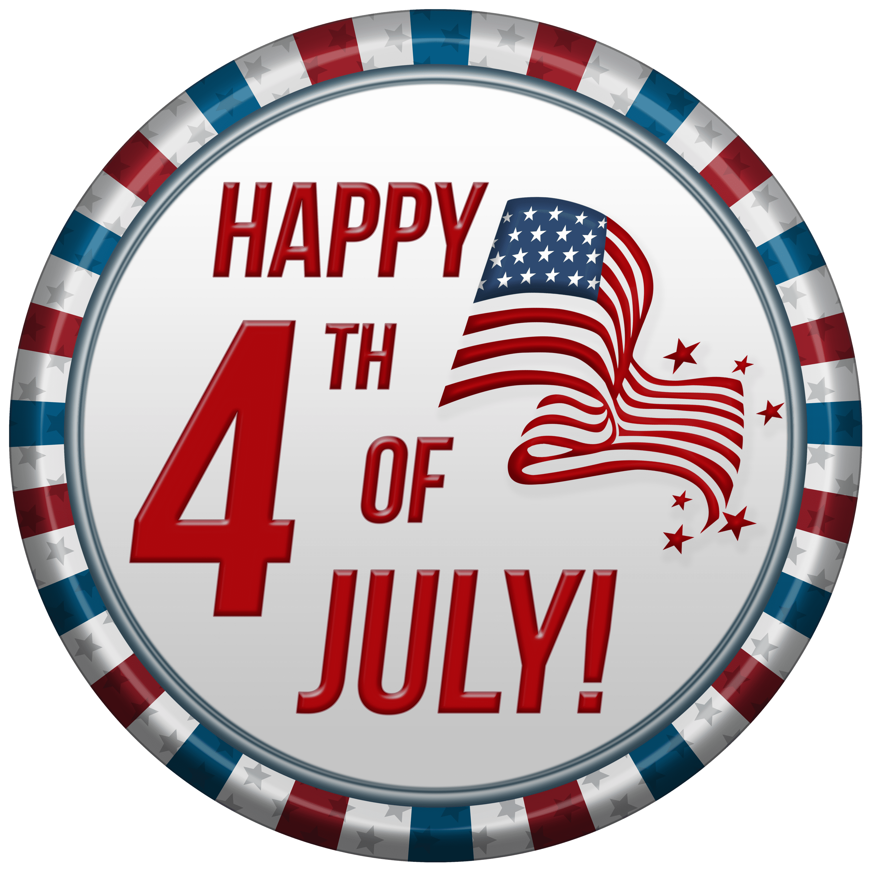 Happy 4th Of July USA Clip Art PNG Image.