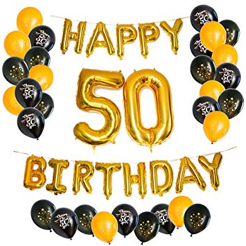 PartyGraphix Ultimate Happy 50th Birthday Balloons for Fiftieth Party with  Foil Letters and Ribbon.