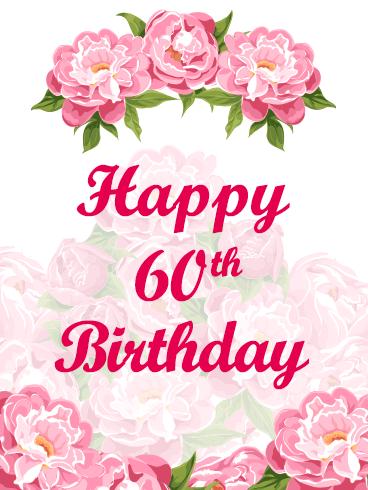 Happy 60th Birthday Flower Card.