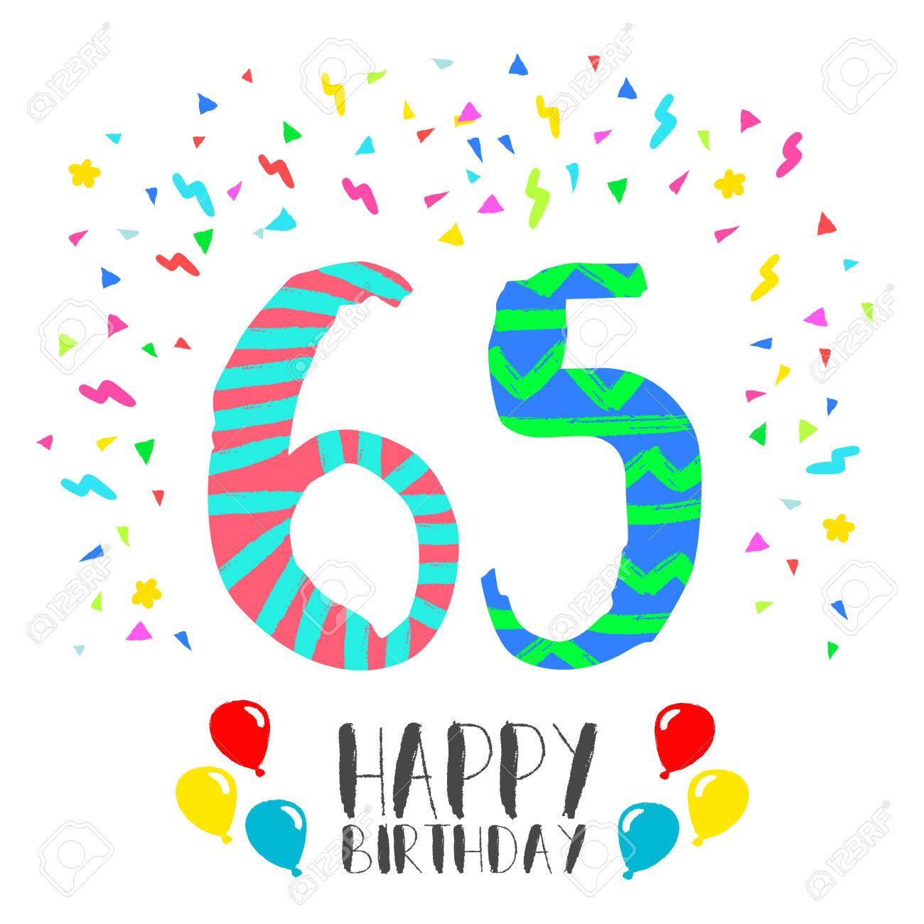 Happy birthday number 65, greeting card for sixty five year in...