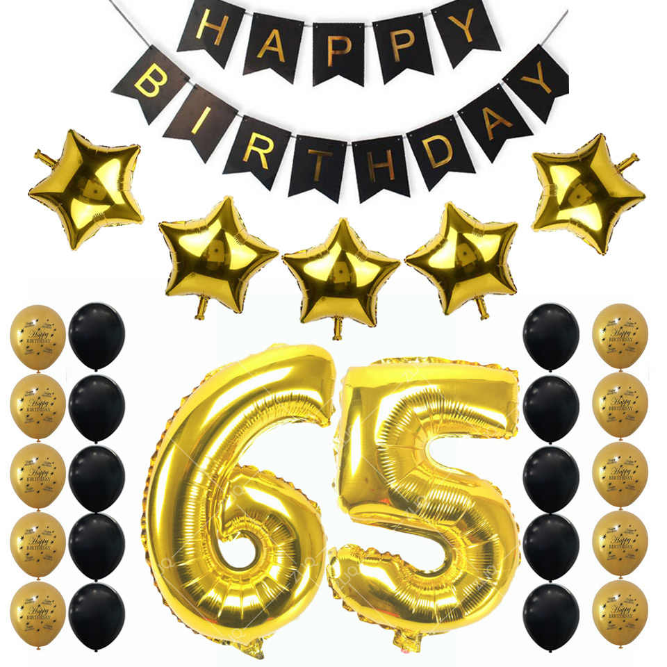 Amawill 65th Birthday Party Decoration Kit Happy Birthday Banner Gold Black  Balloon New 65th Years Old Party Supplies 6D.
