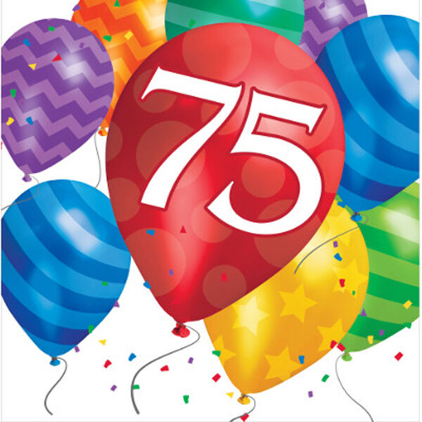 Happy 75th Birthday (Age 75) Party Supplies BALLOON BLAST LUNCH DINNER  NAPKINS.