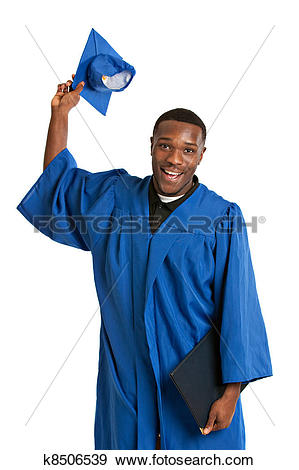 Stock Photograph of Young Happy African American Male Graduate.