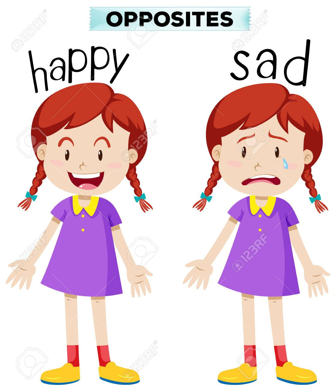 Opposite words with happy and sad illustration.