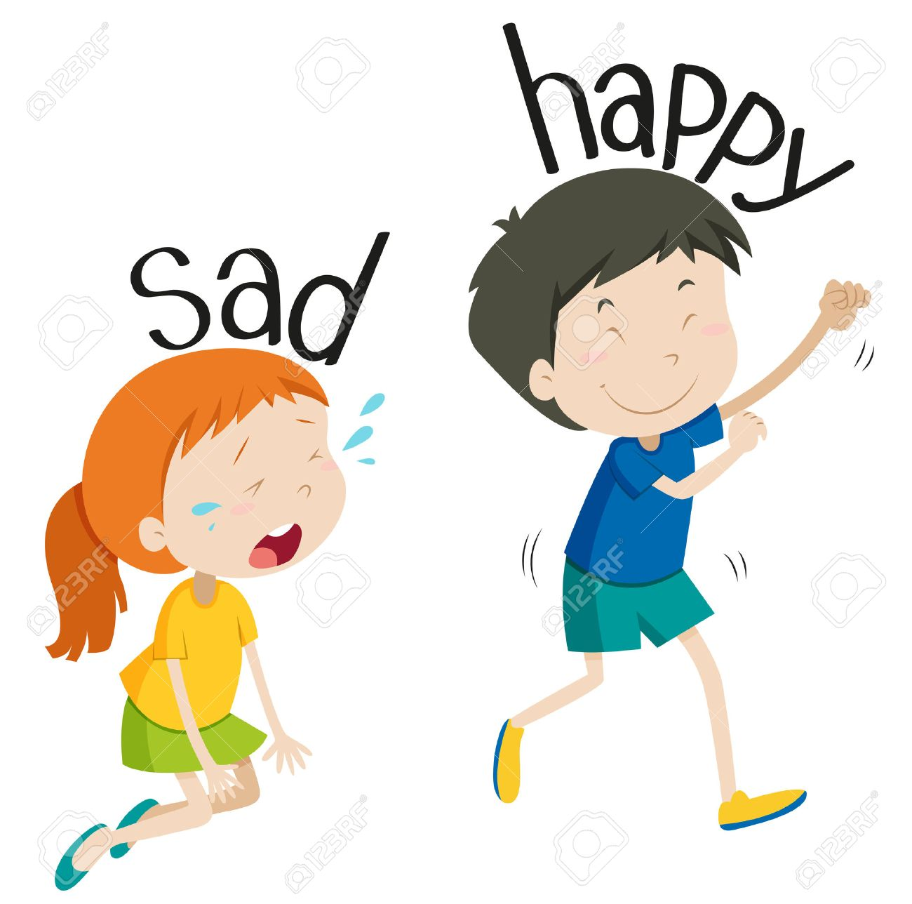 Opposite adjective sad and happy illustration.