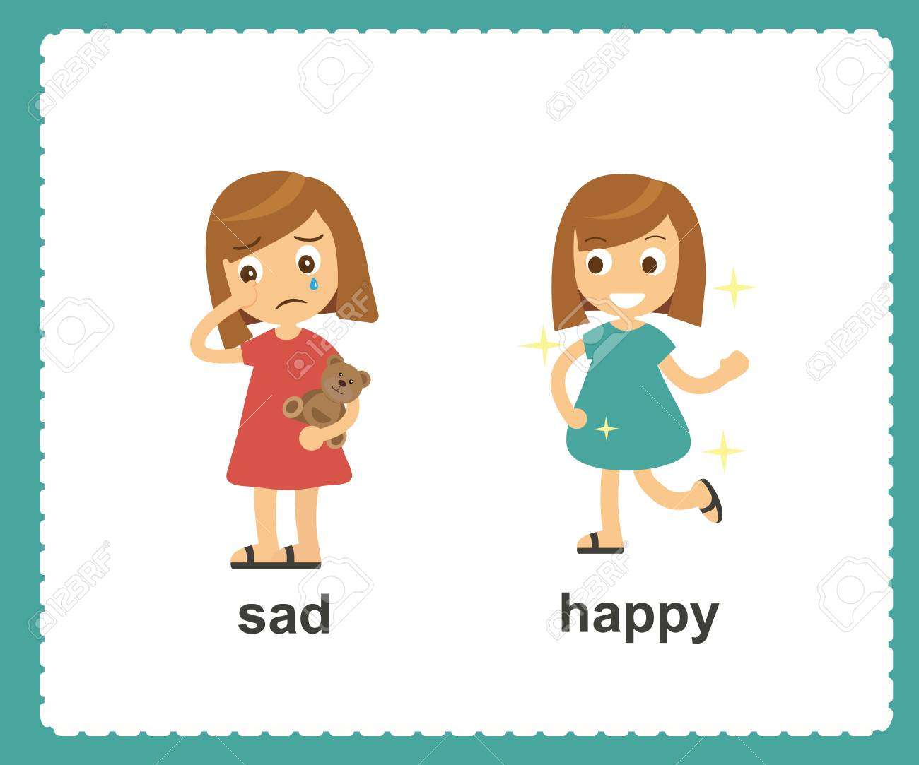 Opposite English Words sad and happy vector illustration.