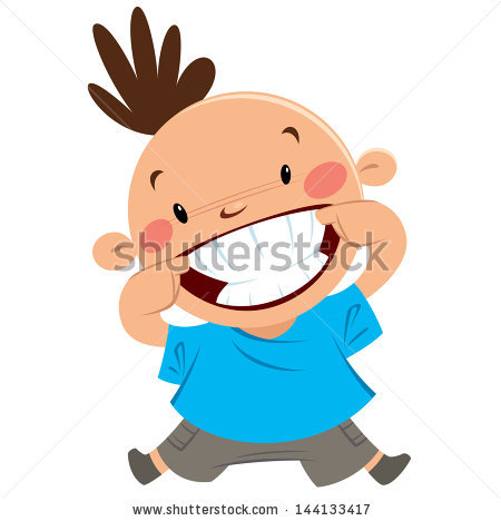 Happy Boy Smiling Pointing His Big Stock Vector 144133417.