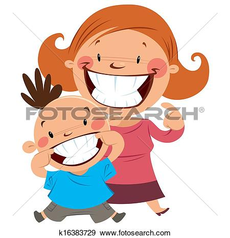 Stock Illustration of Happy mom and son smiling showing their.