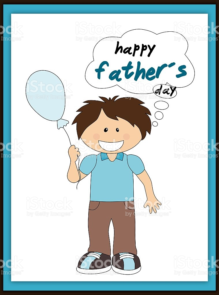 Happy Fathers Day Card With Smiling Boy And Balloon stock vector.
