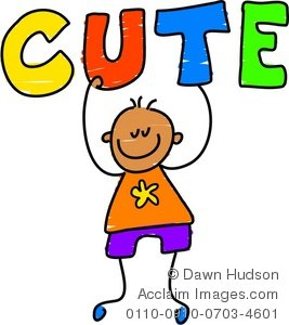 Clipart Illustration of a Happy Little Boy Holding the Word Cute.
