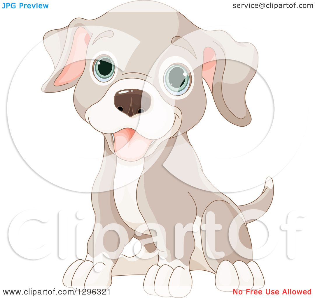 Clipart of a Cute Sitting Happy Tan and Brown Puppy Dog with Blue.