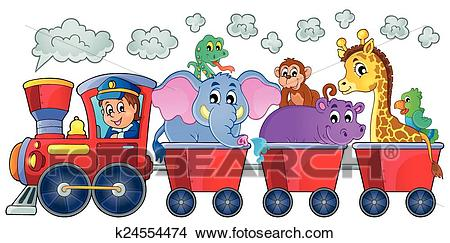 Train with happy animals Clipart.