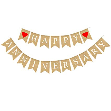 Amazon.com: Rainlemon Jute Burlap Happy Anniversary Banner Party.