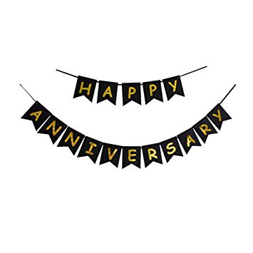 Amazon.com: Happy Anniversary Banner, Black & Gold Letters Bunting.