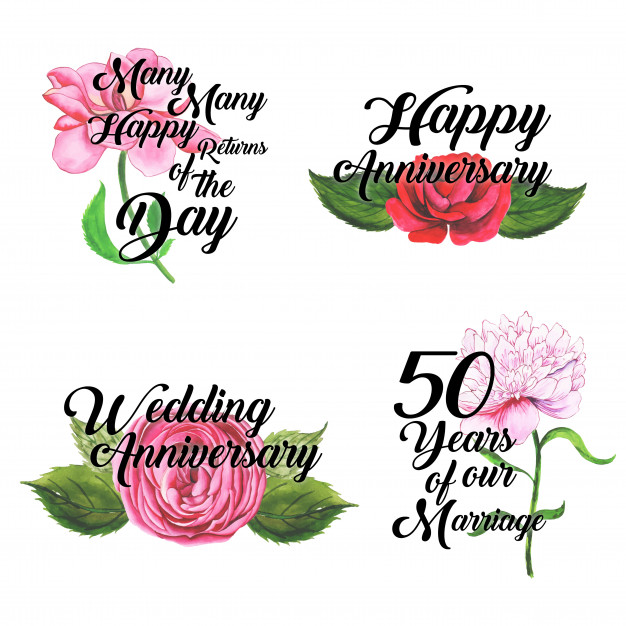 Happy anniversary logo collection with watercolor floral.