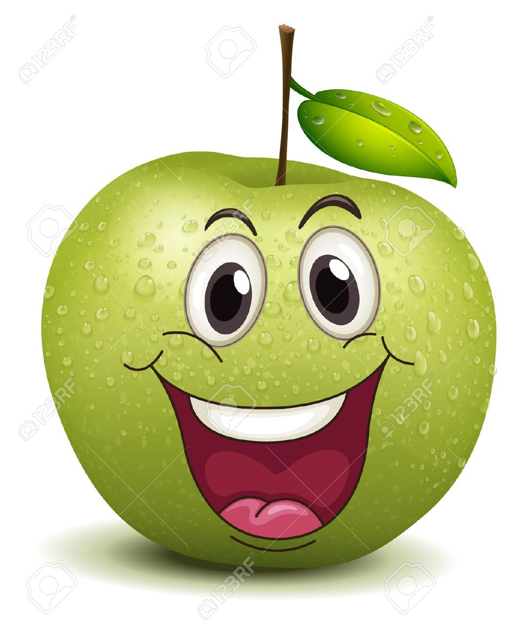 Illustration Of A Happy Apple Smiley On A White Royalty Free.