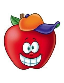 Happy Apple With Baseball Cap.