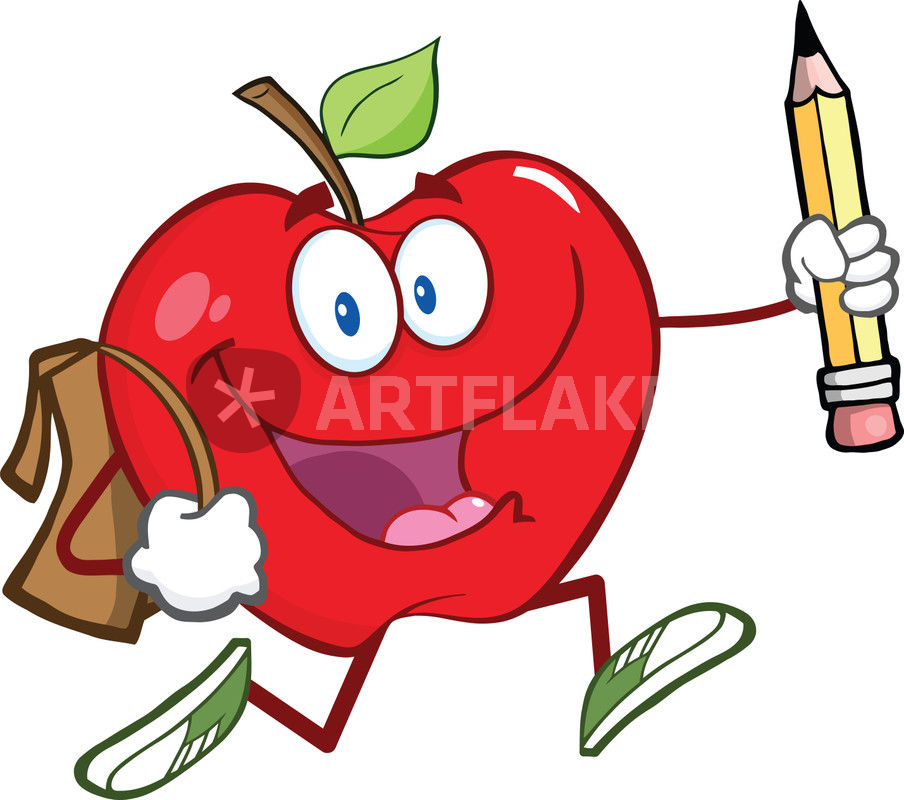 Apple With School Bag And Pencil Goes To School