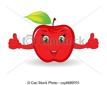 Vector Clip Art of Cartoon happy apple isolated on white.